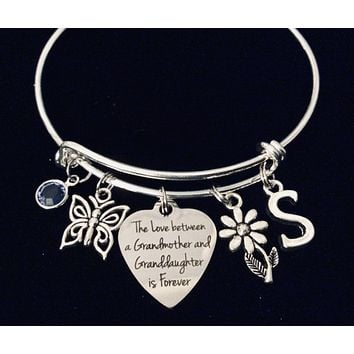 Granddaughter Expandable Charm Bracelet Silver Adjustable Wire Bangle Gift Daisy Butterfly