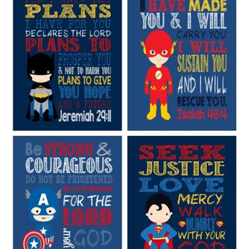 Superhero Christian Nursery Decor Art Set of 4 Prints - Batman, Captain America, Superman and Flash
