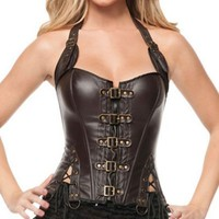 Ladies Sexy Coffee Buckle-up Steampunk Corset Top