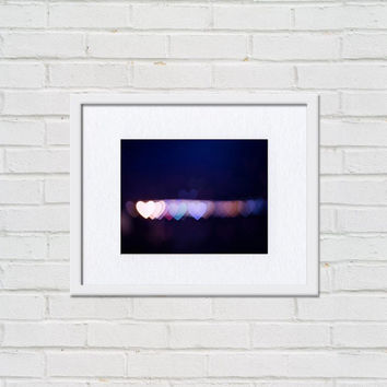 hearts photography bokeh abstract photography 8x10 8x12 fine art photography abstract fairy lights bedroom decor dorm room purple blue pink