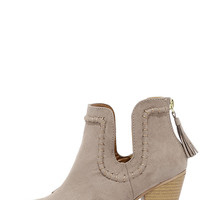 South Bound Taupe Suede Ankle Booties