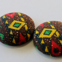 Afro-Chic Earrings, Tribal Afrocentric Earrings, African Button Earrings, Kwanzaa Earrings, Ankara Earrings