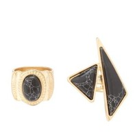 Gold Marbled Stone Stackable Rings - 2 Pack by Charlotte Russe