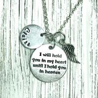 Memorial necklace Personalized Infant loss Baby loss Father Loss Mother Loss Remembrance Grief Miscarriage Angel Wing