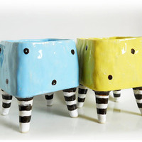 Set of 2 Polka Dot Ceramic Mug, Sweet Polka Dot Mug with Four Legs in Black and White Stripe,