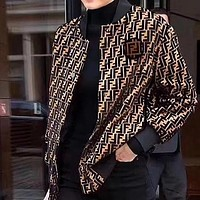 FENDI Autumn Winter Popular Women Double F Letter Knit Pocket Zipper Cardigan Brief Paragraph Jacket Coat Coffee I13882-1