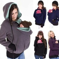 Women New Fashion Hooded Loose Casual Coat Mother and Baby Coat [8833406604]