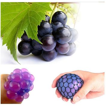 Big Size 6cm! Grape Ball Mesh Squish Morph Ball Squishy Tricky Nausea Toy Squeeze Pinch Toy Gags Practical Jokes Decompression