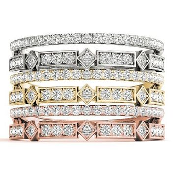 Stackables 1/2 Eternity Tri-Tone Gold Micro-Pave & Bezel-Set Diamond Split Shank 3-Band Set Selectables