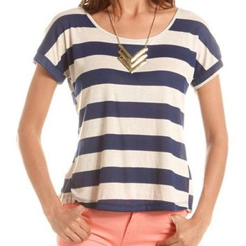 Button-Back Striped Tee: Charlotte Russe