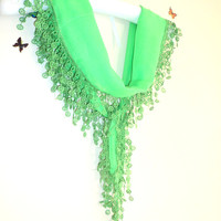 Neon Green, Scarf, for Spring,Headband,Triangle Scarf,beach, pareo