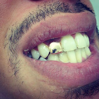 Gold Color Trendy Rock Rapper Hip Hop Grillz Caps Mold Top & Bottom Grill Halloween Body Jewelry Single Tooth Bling Teeth