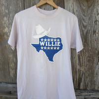 80's Willie Nelson Iron on T Shirt // Vintage T-Shirt