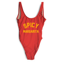 SPICY MARGARITA Gold Letter Bikini One Piece Swimwear Sets Sexy Cut Out Swimsuit Women Bikini Strappy Monokini Bikini Swim Suits
