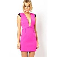 Glowing Pink Plunging Neck Mini Dress