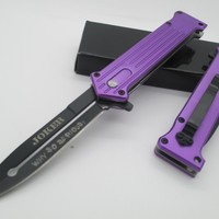 """1 X Tac Force Assisted Opening Folding """"Why So Serious?"""" Joker Purple Knife NEW!!!"""