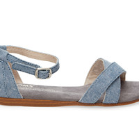 TOMS Light Navy Chambray Youth Correa Sandals Blue