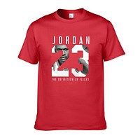 Jordan New fashion letter print people print couple top t-shirt Red