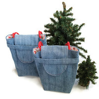 Reindeer Gift Bags Reusable Upcycled Denim Tote Retro Vintage Christmas Red Green Holiday Wrapping (set of 2) --US Shipping Included