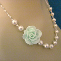Bridesmaid Jewelry Cool Mint Fashion Rose and Pearl Bridal Necklace