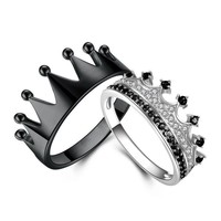 Cool King and Queen Crown Rings 925 Silver Black Series for Women & Men Couples Ring Drop ShippingAT_93_12