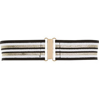River Island Womens Black stripe wide elastic waist belt