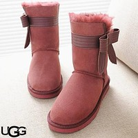 UGG oversized side bow female snow boots shoes #8
