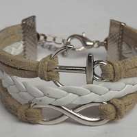 Infinite - anchor ancient silver woven leather bracelet