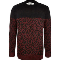 River Island MensRed leopard print two-tone sweater