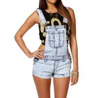 Sale Light Acid Wash Short Overalls