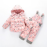 Winter Down Jackets For Boys Girls Kids Snowsuit Children Clothes Baby Warm Outerwear Coat+Pant Clothing Set