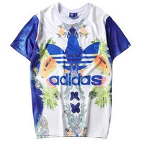 ADIDAS 2019 new 3D signature printed loose round neck half sleeve T-shirt