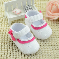 Jan1 Amazing Summer Infant Baby Girls Cotton Shoes Flower Soft Sole Walking First Walker High Quality 2016