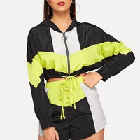 Colorblock Drawstring Hem Hooded Jacket and Shorts Set