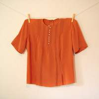 Vintage. 50's Rust Orange Blouse. Top. Button Up Back. Pintuck. High Neckline. Short Sleeves. Tailored. Boho. Retro. Classic. Fall. Medium M