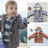 Top Quality Boys Winter Button Jacket Clothes Outerwear Thick Coat With Hooded 5sizes Free Shipping