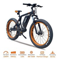 VTUVIA Electric Bike With Advanced Middle Hub Brushless motor And 48V 13Ah Long-lasting Removable Samsung Lithium-Ion Battery 26 Inch Fat Tire Bicycle City Mountain E-Bike For Adults Men
