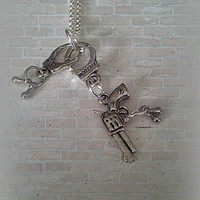 HandCuffs Pistol Necklace,Partners in Crime,Hand Cuff Gun,Bondage,Outlaw Necklace,Steam Punk Hipster Jewelry,Ready to Ship,Direct checkout