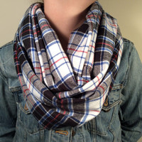 Handmade Infinity Scarf Plaid Flannel - Double Layer Super Warm!  Black, White, Red and Blue,Tartan,Christmas Gift
