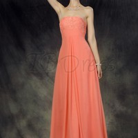 Chic Draped A-Line Strapless Long Prom Dress