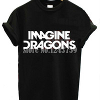 2015 New Women Tshirt IMAGINE DRAGONS Letters Print Cotton Casual Funny Shirt For Lady Black White Top Tee Hipster ZT203-27