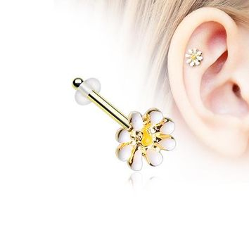 Golden Dainty Adorable Daisy Piercing Stud with O-Rings