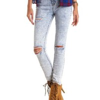 "Refuge ""Hi-Rise Skinny"" Destroyed Acid Wash Jeans"