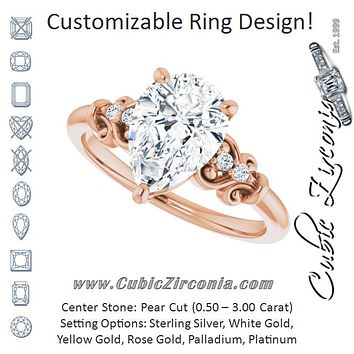 Cubic Zirconia Engagement Ring- The Amice (Customizable Vintage 5-stone Design with Pear Cut Center and Artistic Band Décor)