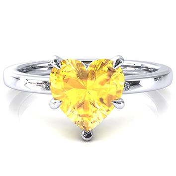 Maise Heart Yellow Sapphire 5 Prong Diamond Accent Engagement Ring