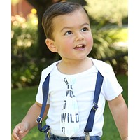 Wild One First Birthday Outfit with Tie and Suspenders Navy Mint Gray