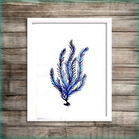 Seagrass Blue watercolor painting wall art print beach seaweed coral poster decor bathroom decal print art poster large & small aqua blue