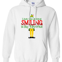 I just like smiling smiling is my favorite Buddy The Elf Sweatshirt Funny hoodie shirt Men Ladies Womens Santa Merry Christmas DT-648