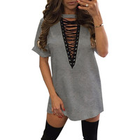 Lace Up Casual T-Shirt