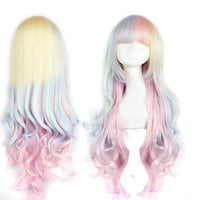 Can arrive in 2 days by expess shipping Long curly rainbow colored wig . Lolita hair inspired. Synthetic multicolor wig -high quality wig